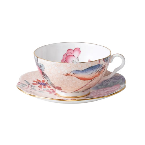 Cuckoo Tea Cup and Saucer in Peach