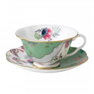 Butterfly Bloom Teacup and Saucer in Green