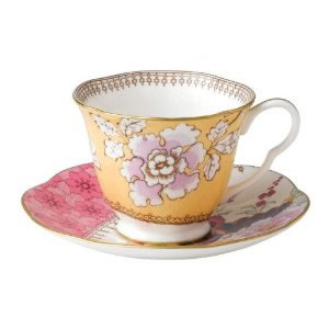 Butterfly Bloom Teacup and Saucer in Yellow