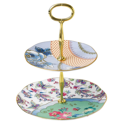 Wedgwood Butterfly Bloom 2 Tiered Cake Stand