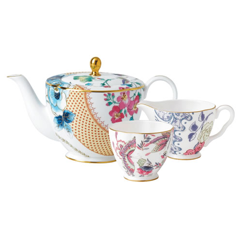 Wedgwood Butterfly Bloom Teapot 1ltr, Sugar and Creamer Gift Set