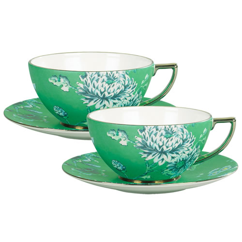 Jasper Conran Chinoiserie Green Teacup & Saucer Pair Set