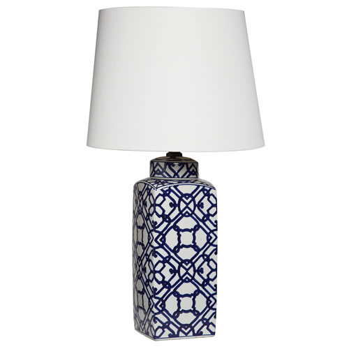 Geometric Blue Lamp with White Shade