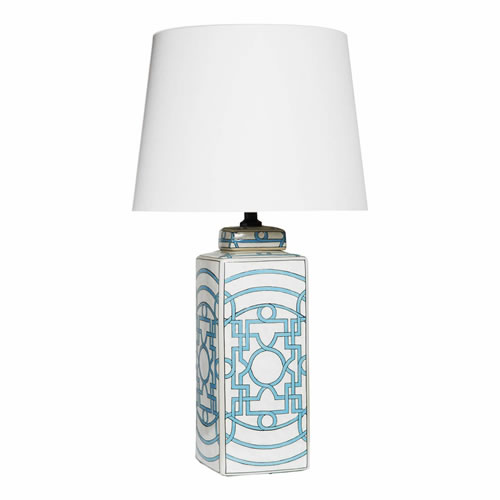Geometric Pale Blue Lamp with White Shade