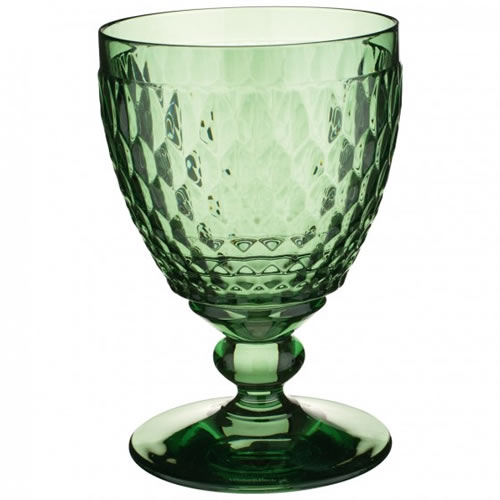 Boston Coloured Red Wine Goblet Green Set