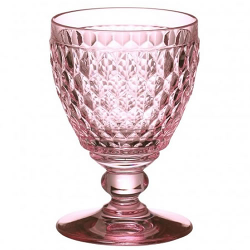 Boston Coloured Red Wine Goblet Rose Set