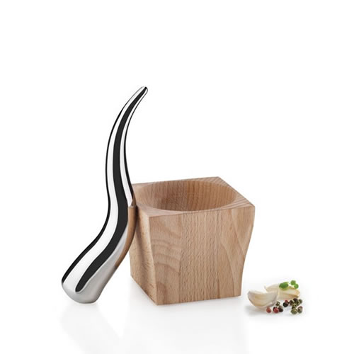 Steel and Beech Mortar and Pestle