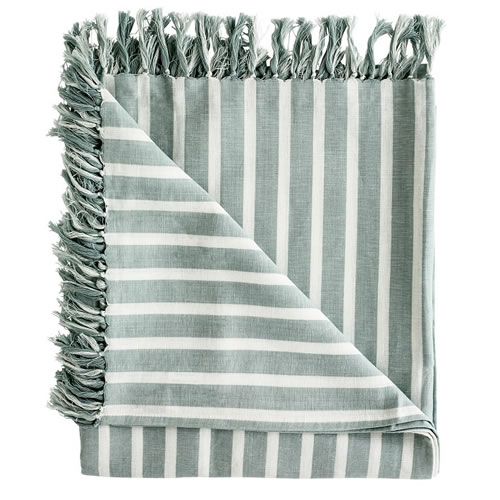 Coitier Essential Throw Linen Cotton Blend with Tassels 180x150cm Sea Mist White Stripe