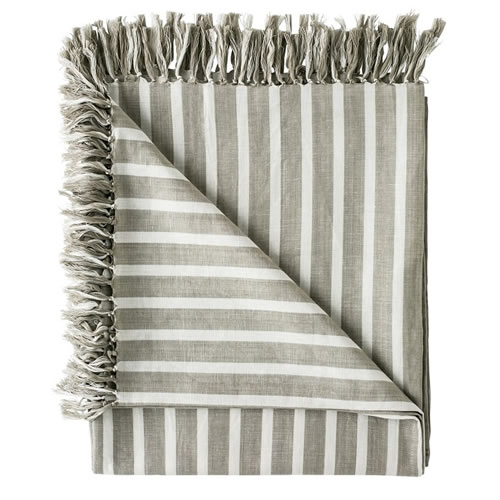 Coitier Essential Throw Linen Cotton Blend with Tassels 180x150cm Natural White Stripe