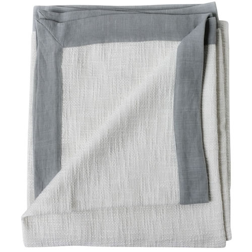 Landscap Throw Slub Weave with Linen Flange 180x150cm White Silver Grey