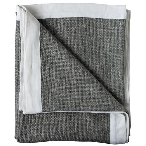 Landscap Throw Slub Weave with Linen Flange 180x150cm Silver Grey White