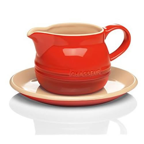 Gravy Boat with Saucer in Red