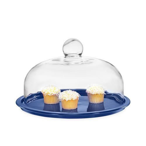 Cake Platter with Lid in Blue