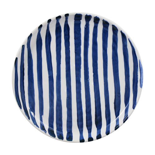 Indigo Brush Stripe Dinner Plate