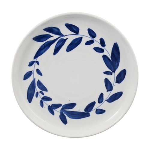 Indigo Brush Wreath Dinner Plate