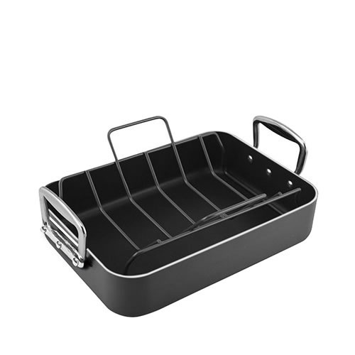 Non Stick Aluminium Roaster with Rack 36x26cm