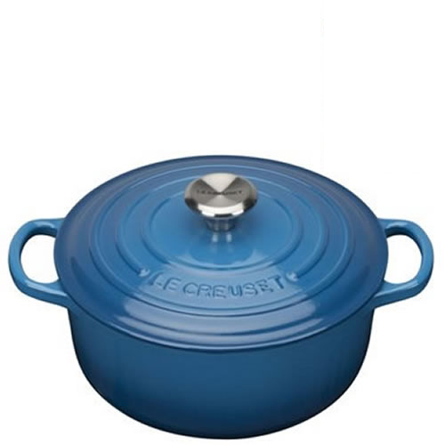 Marseille Blue Signature Round Casserole 20cm plus a FREE PAIR OF SALT & PEPPER MILLS Valued at $130