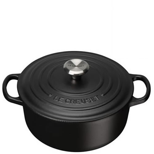 Satin Black Signature Round Casserole 24cm plus a FREE PAIR OF SALT & PEPPER MILLS Valued at $130
