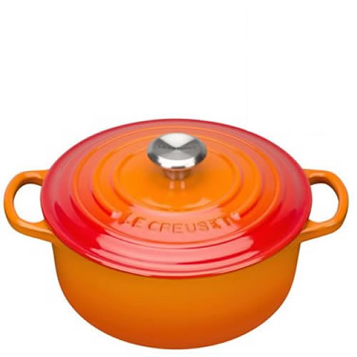 Volcanic Signature Round Casserole 24cm plus a FREE PAIR OF SALT & PEPPER MILLS Valued at $130