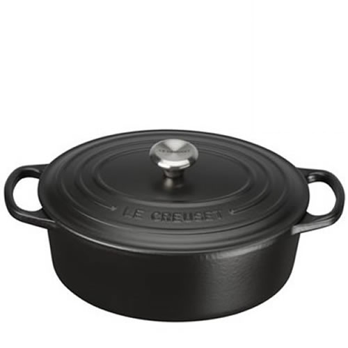 Satin Black Signature Oval Casserole 27cm