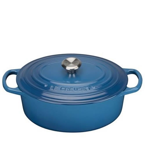 Marseille Blue Signature Oval Casserole 29cm plus a FREE PAIR OF SALT & PEPPER MILLS Valued at $130