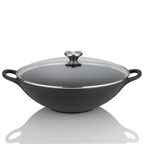 Satin Black Cast Iron Wok 32 with Glass Lid