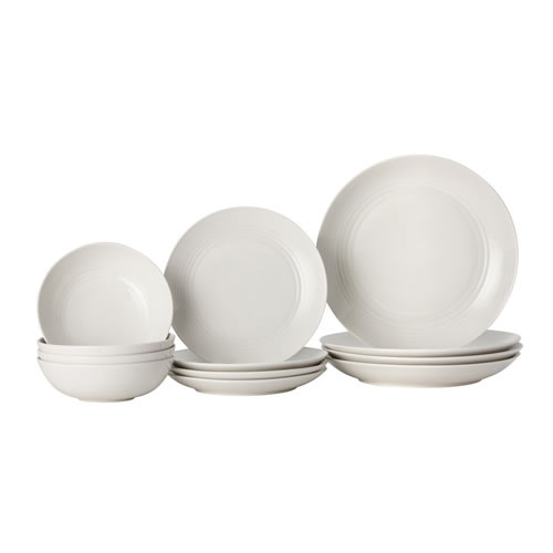 Gordon Ramsay Maze 12 Piece Dinnerware Set in White