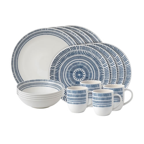 Cobalt Blue Chevron 16 Piece Set