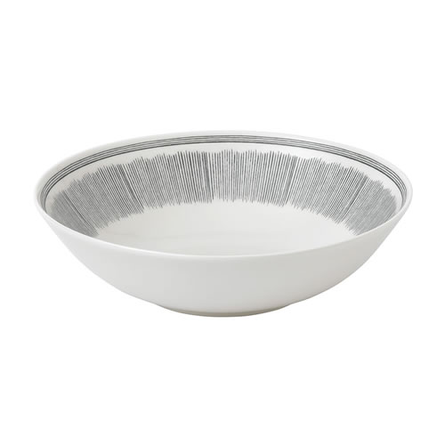 Charcoal Grey Lines Bowl 29cm