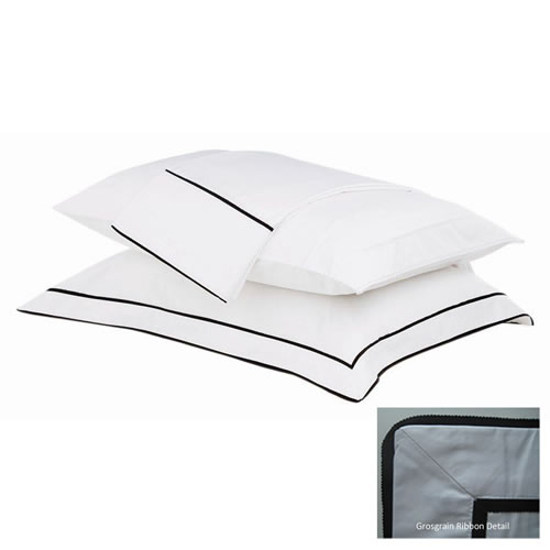 Grosgrain Tailored Pillowcase White with Black Trim