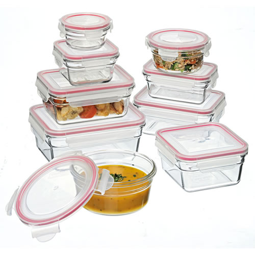 Glasslock 9 Piece Tempered Glass Food Container Set - Oven Safe