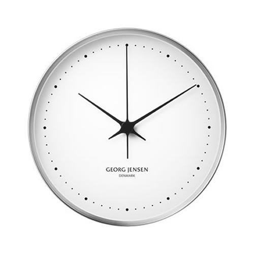 Koppel 30cm Wall Clock in Stainless Steel with White Dial