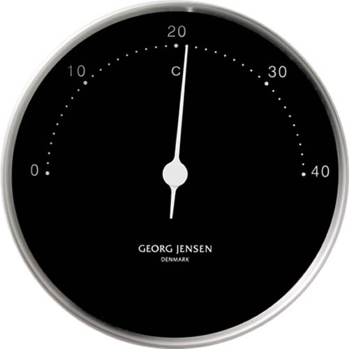 Koppel 10cm Thermometer in Stainless Steel with Black Dial