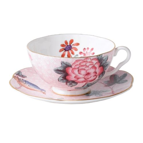 Cuckoo Tea Cup and Saucer in Pink