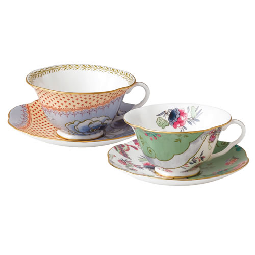 Wedgwood Butterfly Bloom 2 Teacups & Saucers Gift Set