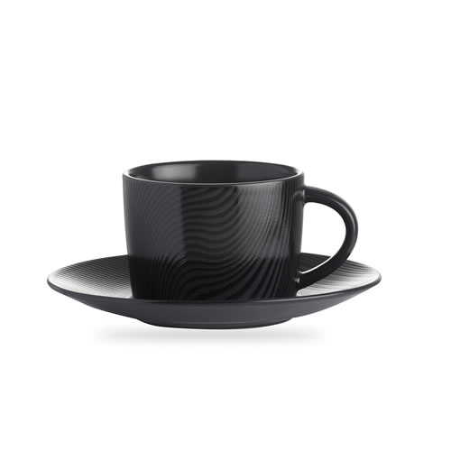 Black on Black Cup and Saucer