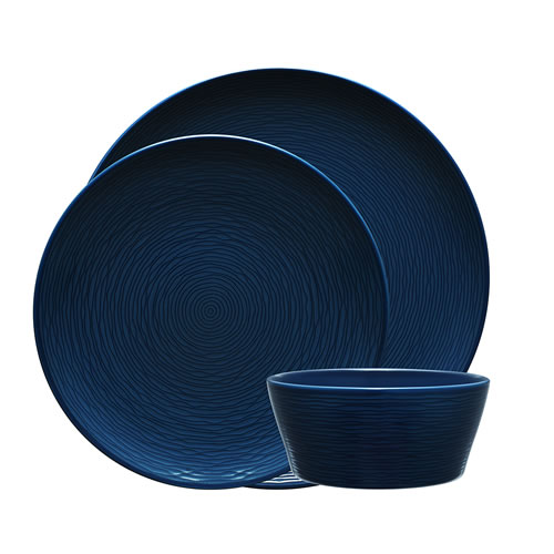 Navy on Navy Swirl 12 Piece Dinner Set