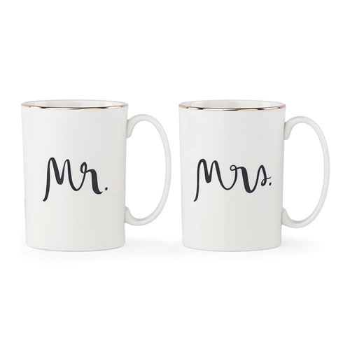 kate spade new york Bridal Party Mr & Mrs Mug Pair