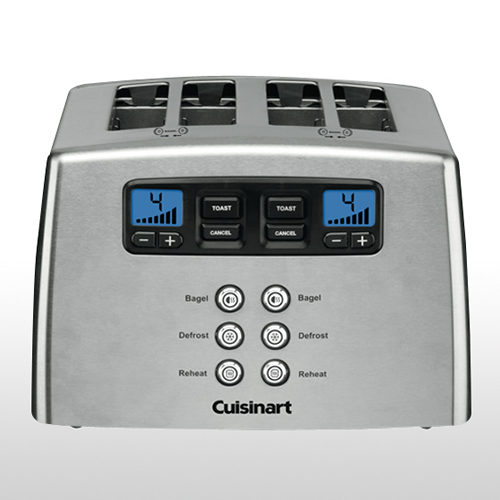 Four Slice Motorised Toaster in Brushed Stainless Steel
