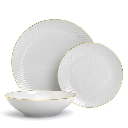 Helix 12pce Dinner Set in White with Gold Rim