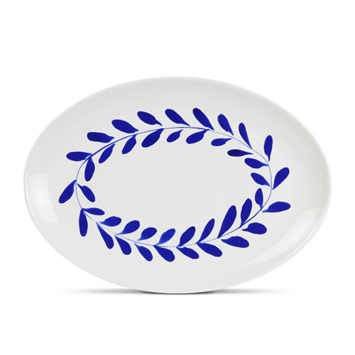 Indigo Wreath Oval Platter