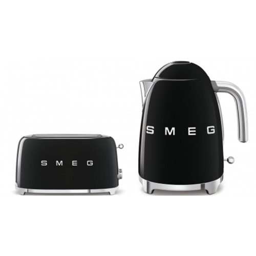 Smeg - 1.7L 50's Style Kettle & 4 Slice Toaster Pack - Black