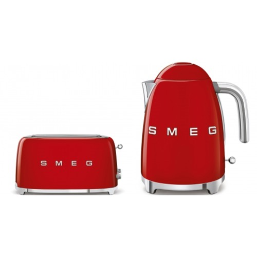 Smeg - 1.7L 50's Style Kettle & 4 Slice Toaster Pack - Red