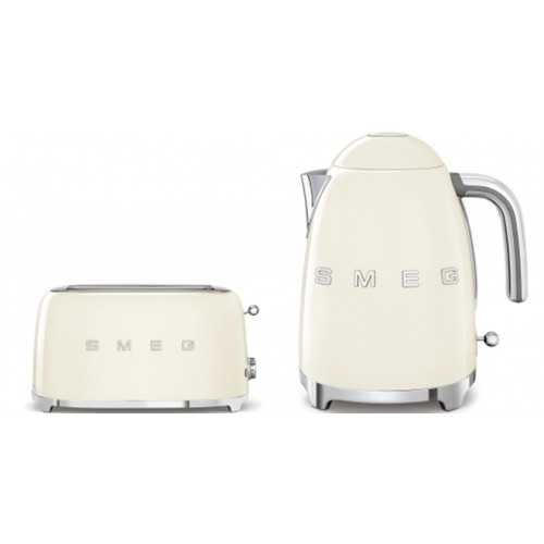 Smeg - 1.7L 50's Style Kettle & 4 Slice Toaster Pack - White