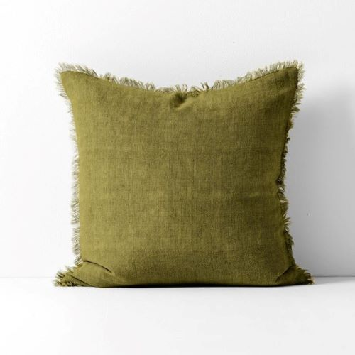 Vintage Linen Cushion in Olive