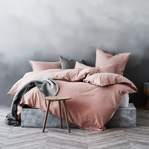Maison Fringe Queen Quilt Cover in Rose Dust