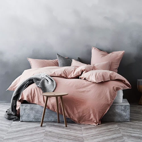 Maison Fringe King Quilt Cover in Rose Dust