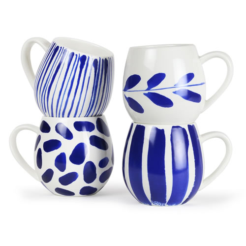 Indigo Brush Mugs
