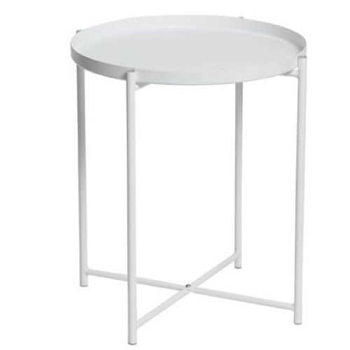 Alto Round Tray Lamp Table in White