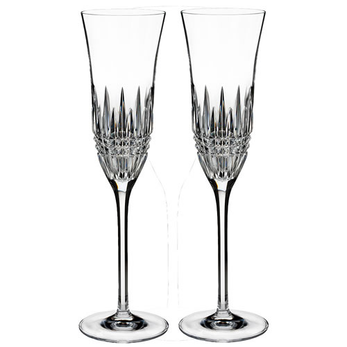 Lismore Diamond Essence Waterford Crystal Flute Pair